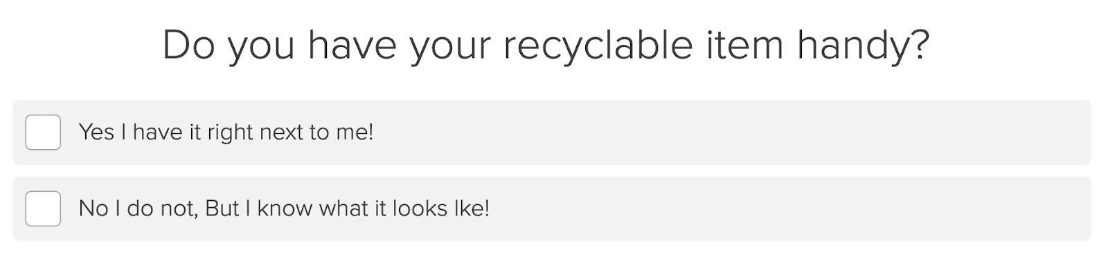 recycling question example