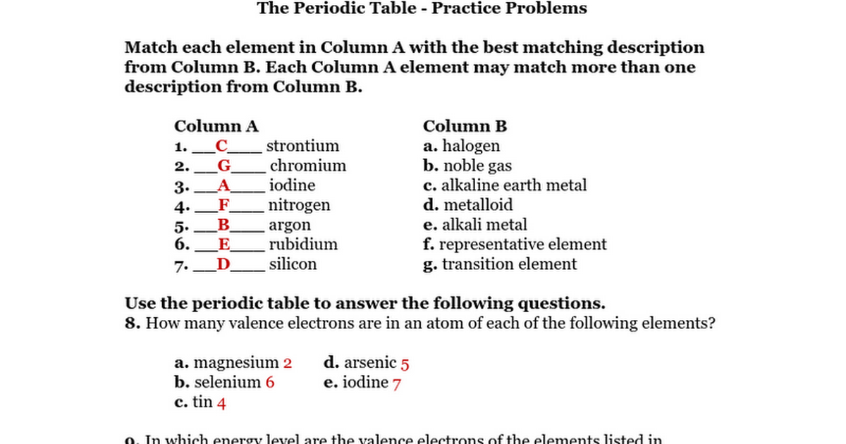Periodic Table what are periods and groups in the modern periodic table : The Periodic Table Combined Practice Problems Key.doc - Google Docs