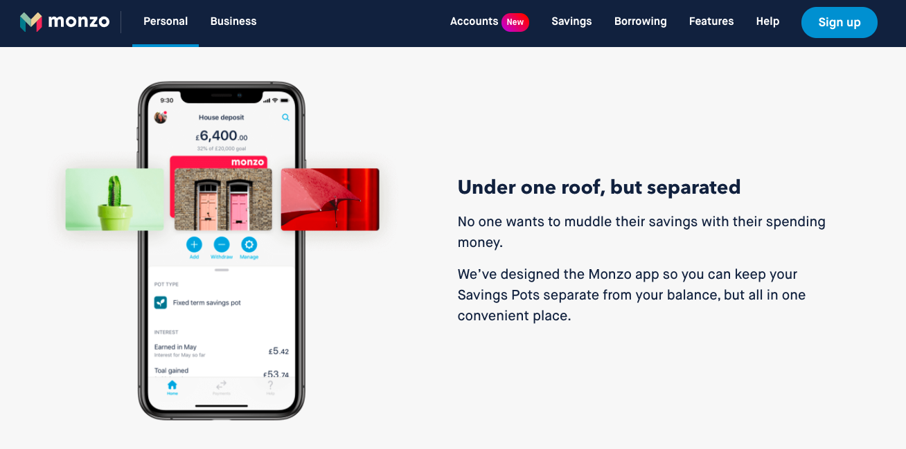 Monzo website conversational copy