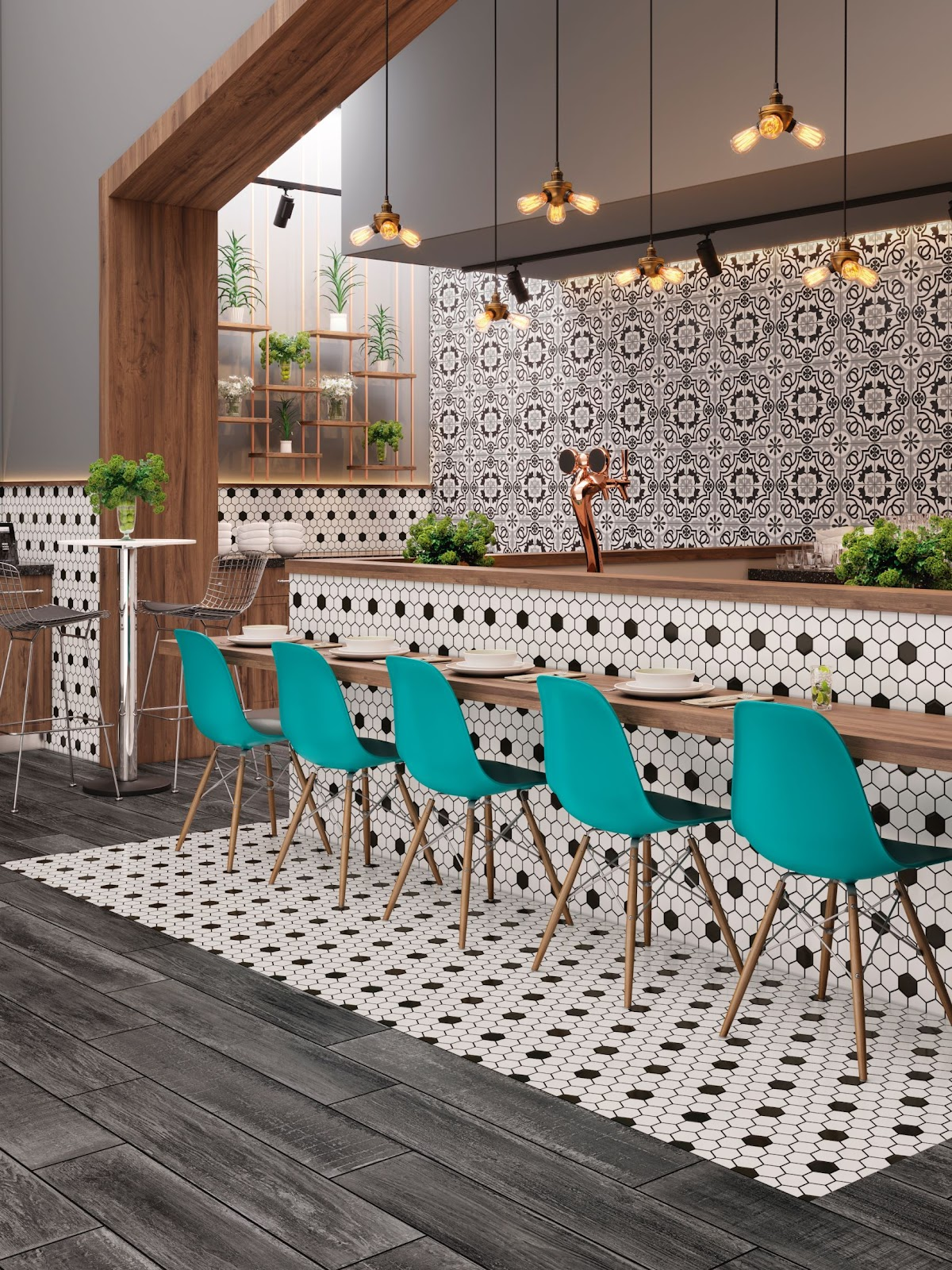 Retro black and white hexagon tile bar front