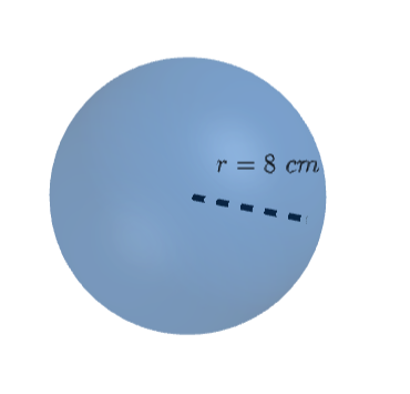sphere with r= 8cm