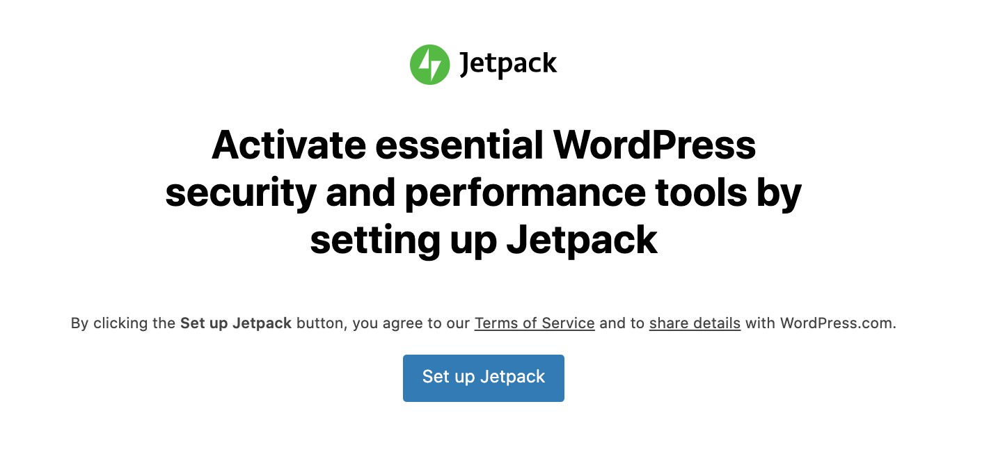 Jetpack setup screen