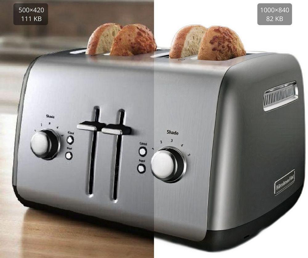 Claid.ai for sharper kitchen appliance photos on white background
