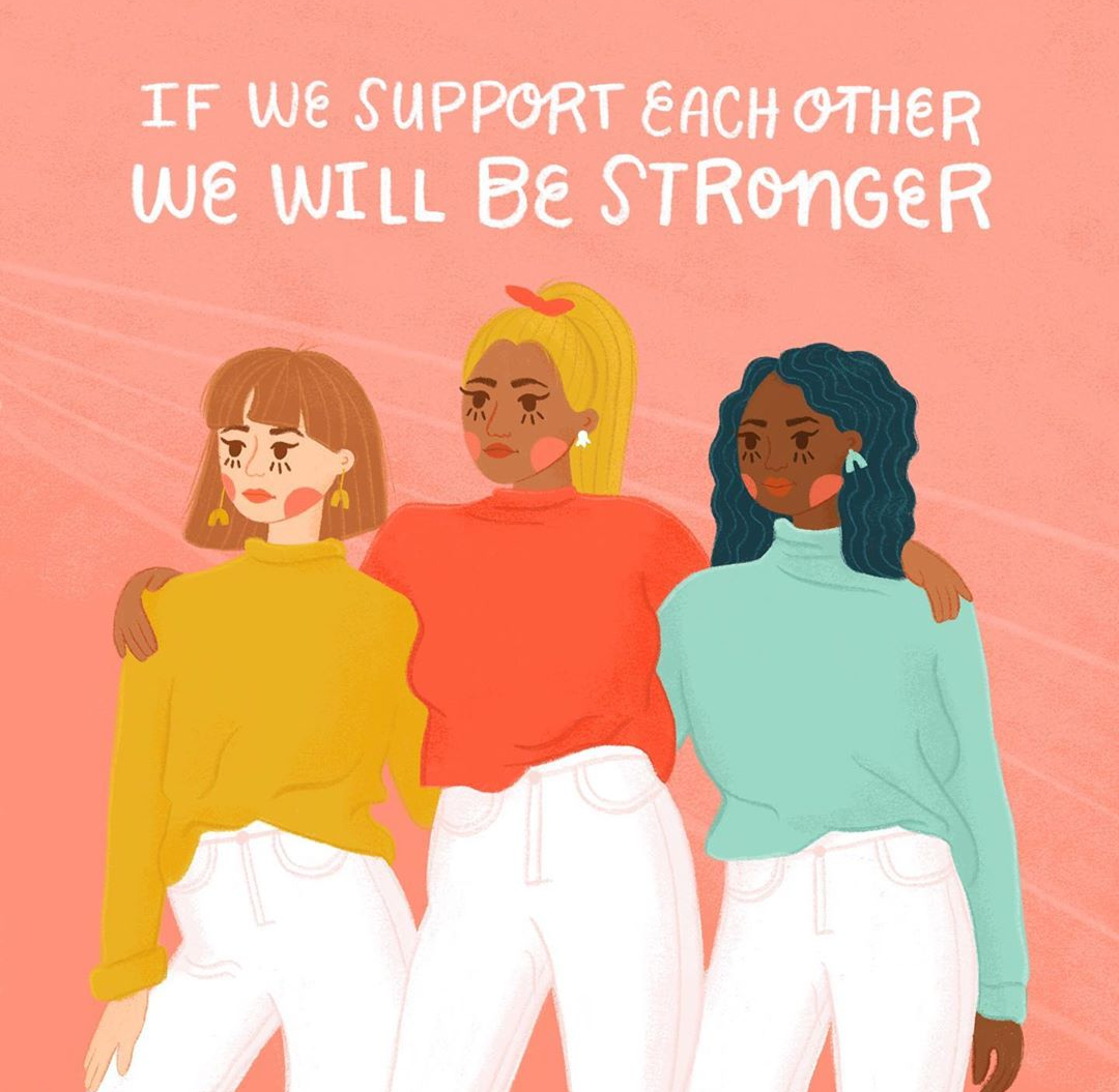 "Women embracing with a caption reading ""If we support each other we will be stronger,"" which is a strong message of empowerment."