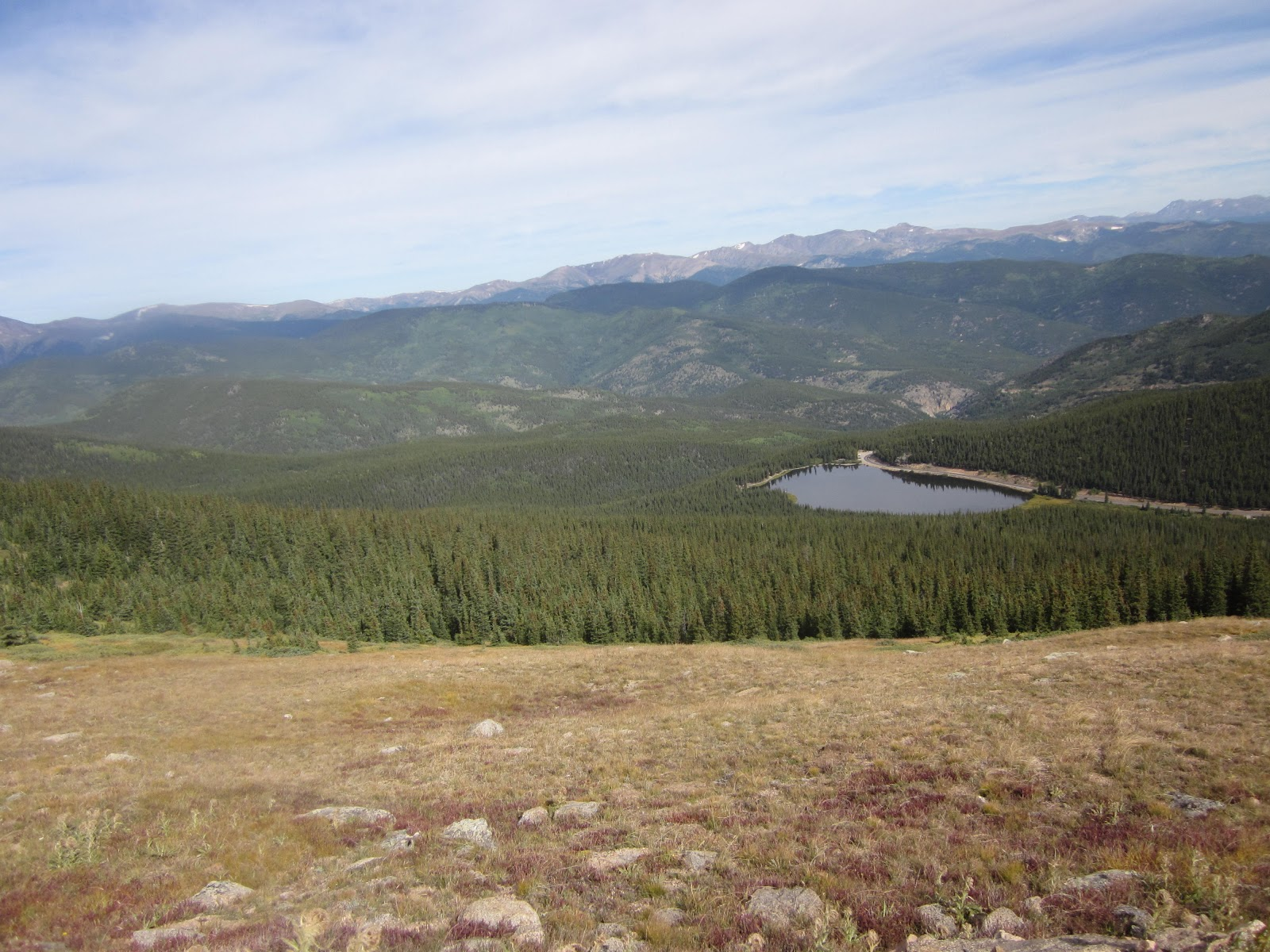 Cycling above treeline to Mt Evans in Rocky Mountains Colorado