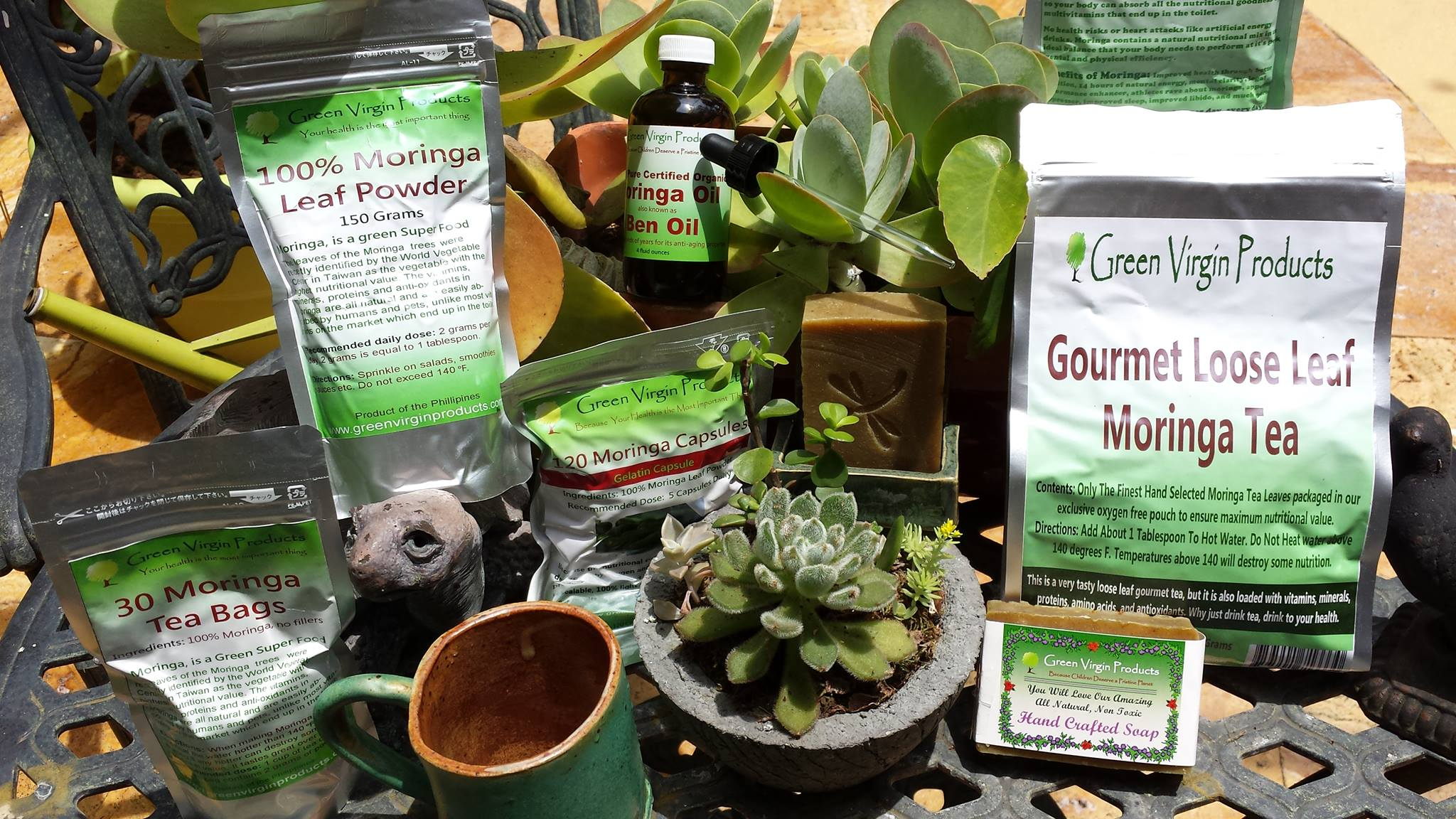 Tea and various health items from Green Virgin Products