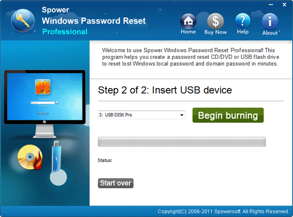 choose usb name and click begin burning