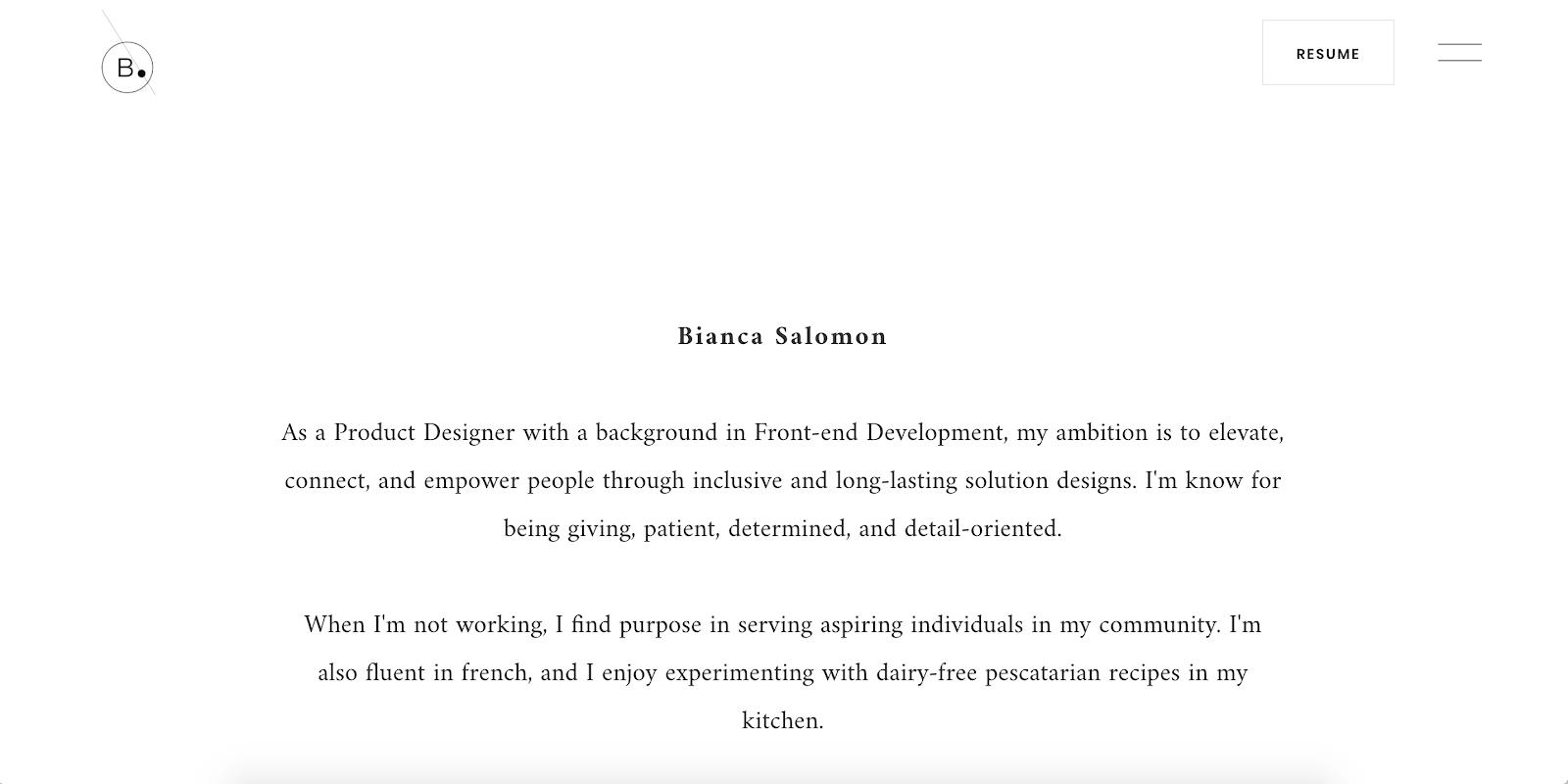 Screenshot of biancasalomon.com, Bianca Salomon's UX Design portfolio.