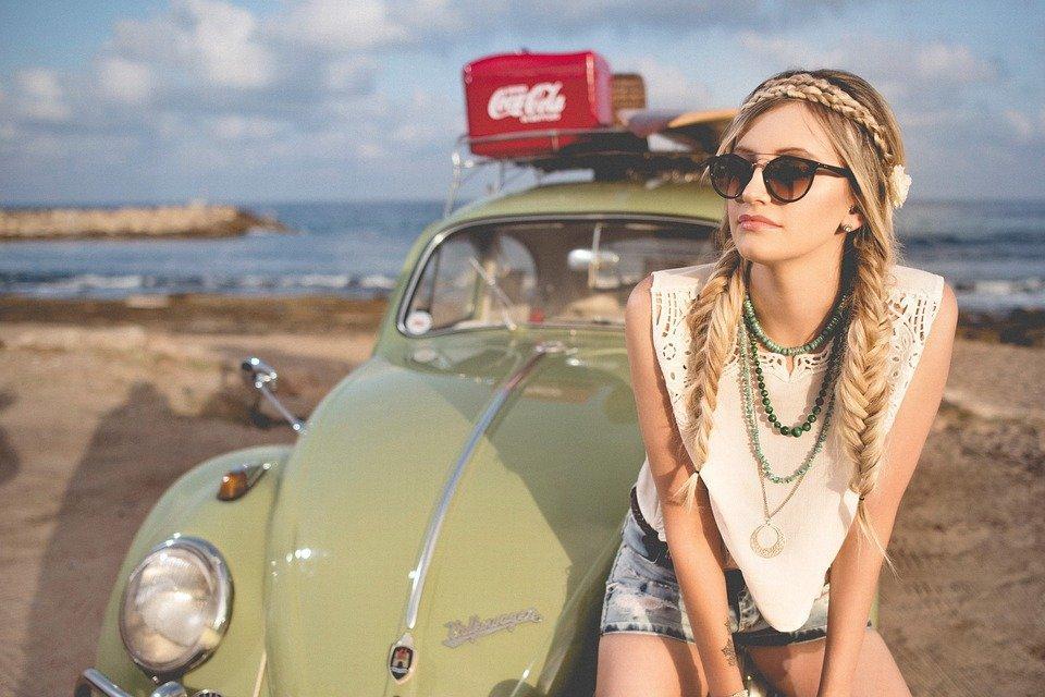 Beach, Beautiful, Beetle, Classic Car, Girl, Leisure