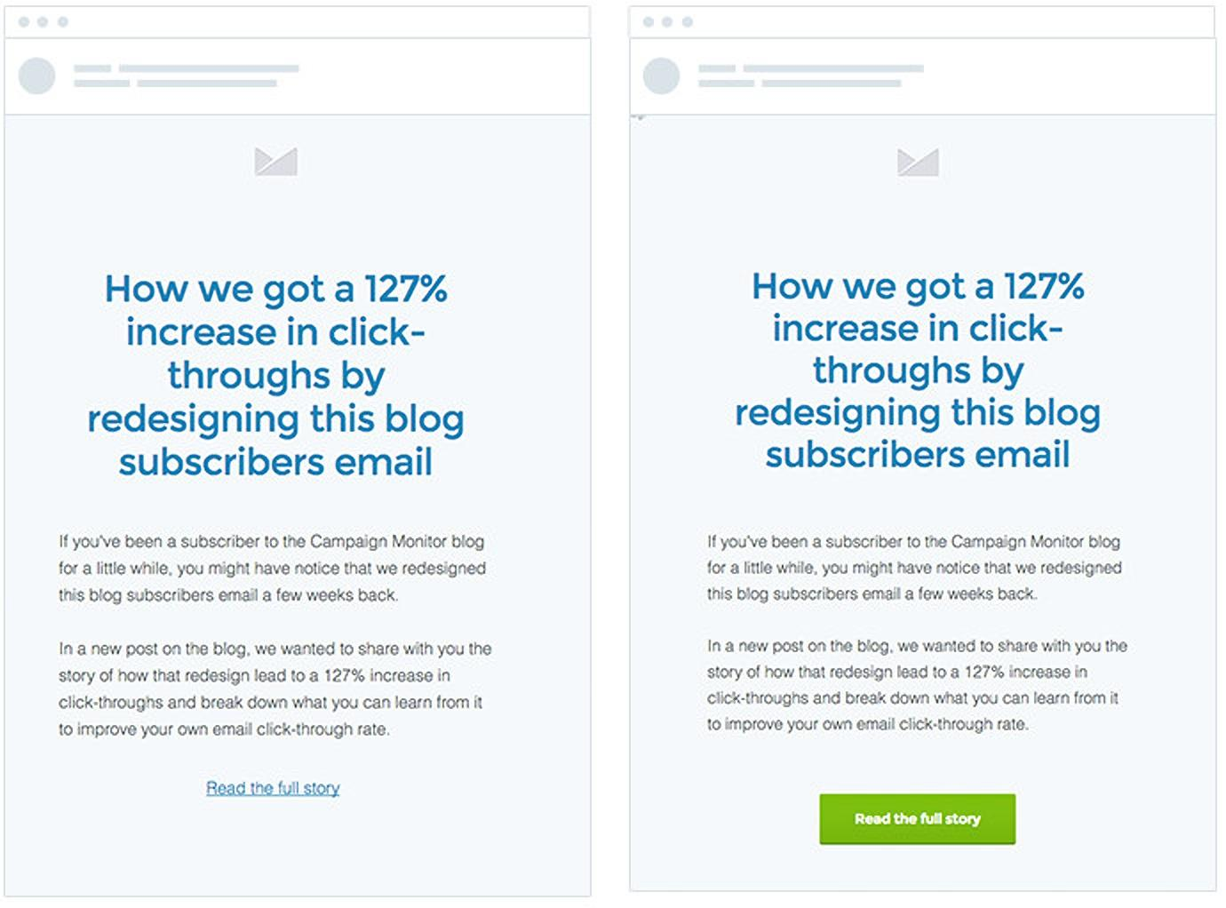 button-based CTA examples from campaign monitor