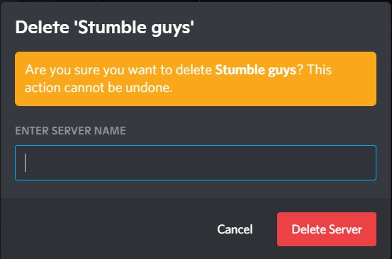 The Delete server prompt window with the enter server name slot