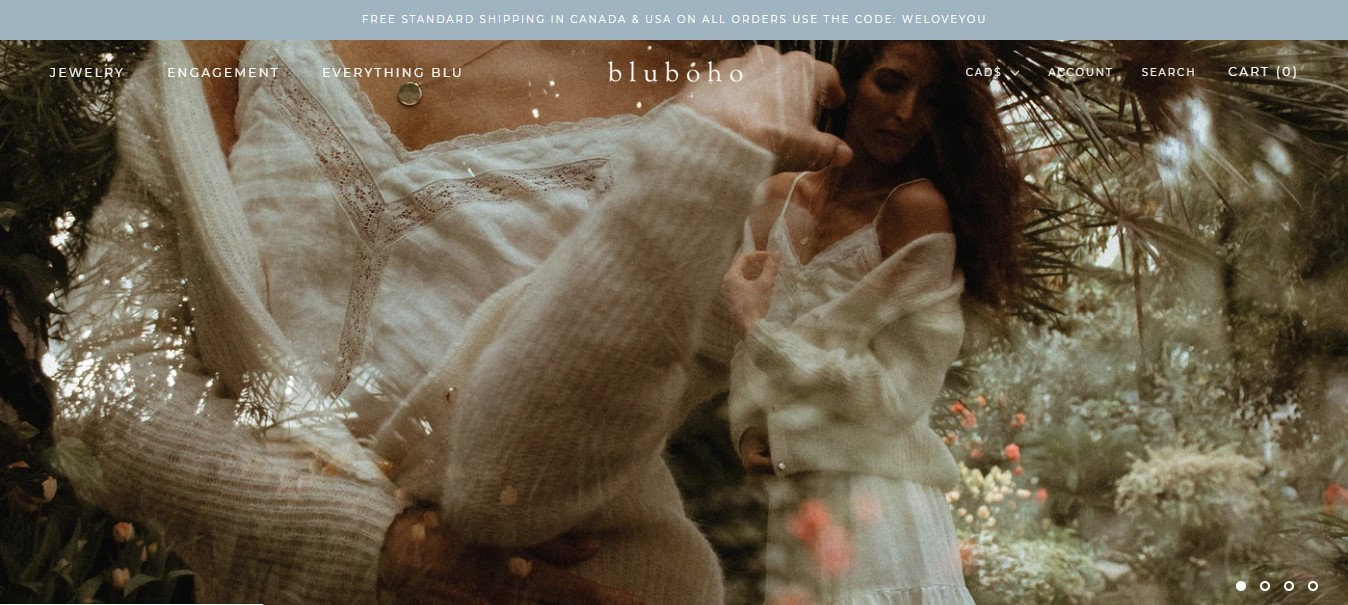 Bluboho's landing page -woman in a white dress