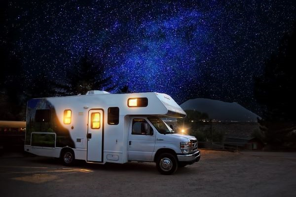 RV Camping At Night