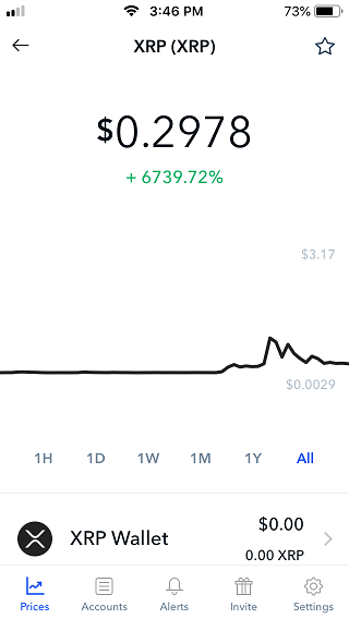 Coinbase app XRP screen shot.