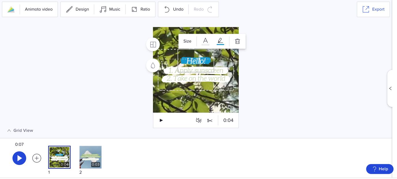 video editor animoto screenshot