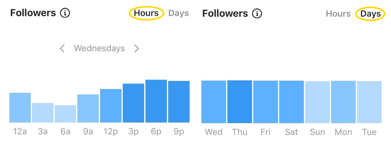 Instagram Insights: find out when your followers are online