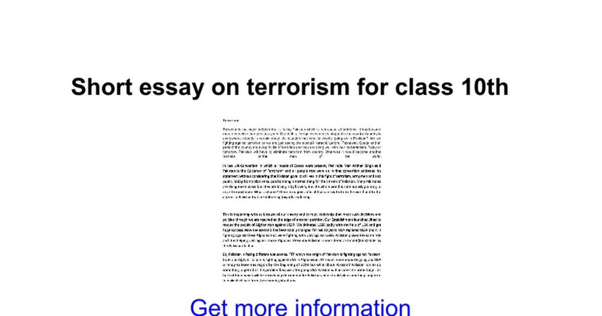 short essay on terrorism for class th google docs