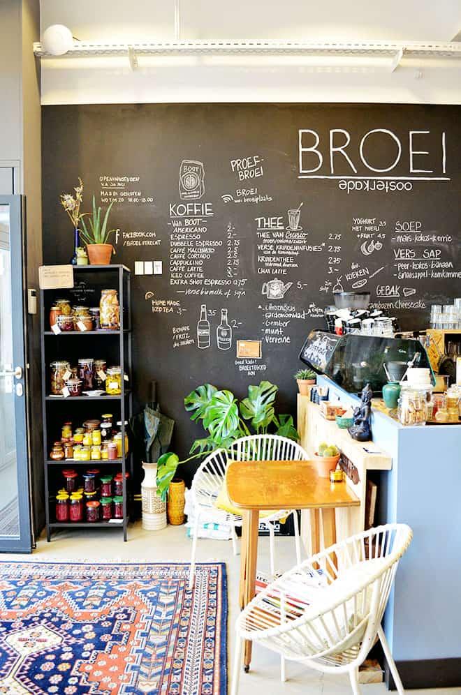 Chalkboard men at the Broei Utrecht restaurant in the Netherlands.