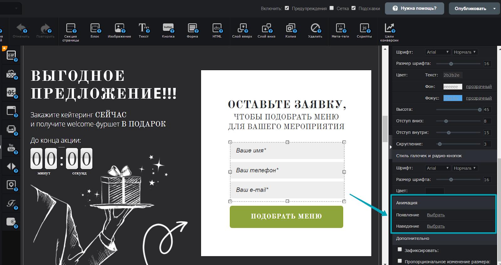 Чтобы настроить анимацию формы, кликните по полям формы и выберите пункт настроек «Анимация» в правой панели редактора