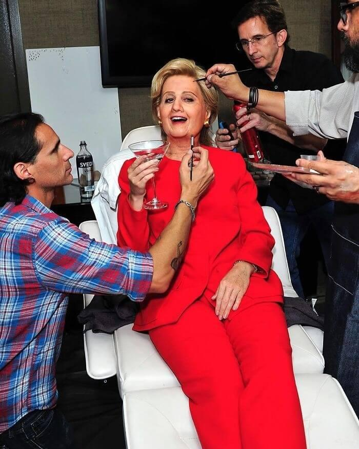Katy Perry Rocks The Pant Suit As Hillary Clinton