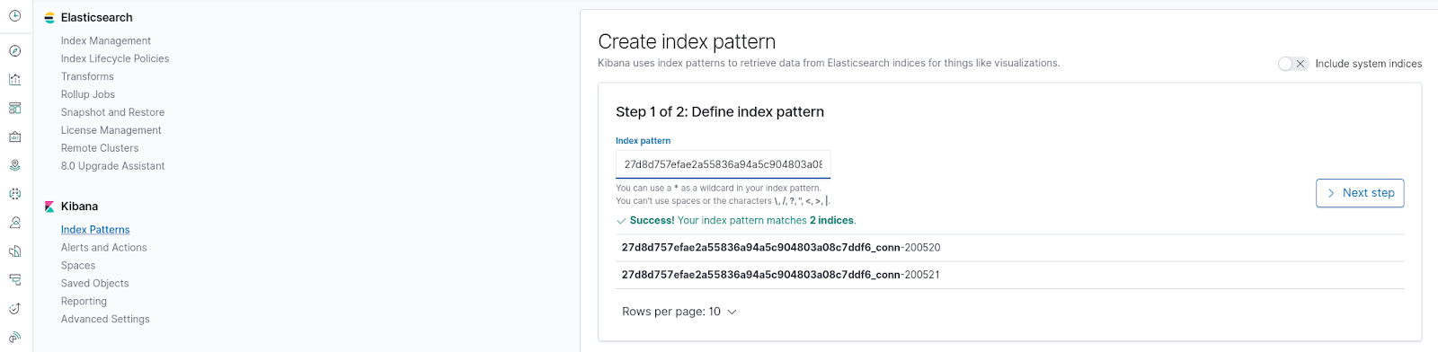 Create Index Pattern