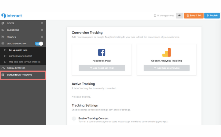 how to add Facebook pixel and Google Analytics tracking to quiz