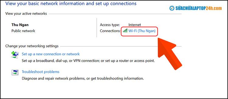 Tại mục Connections, chọn Wifi đang kết nối