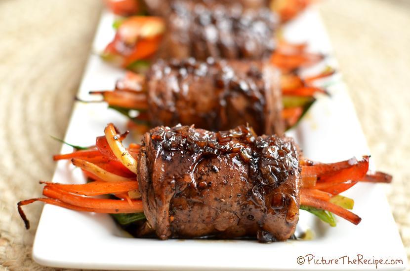 Balsamic Glazed Steak Rolls - PitcureTheRecipe.com