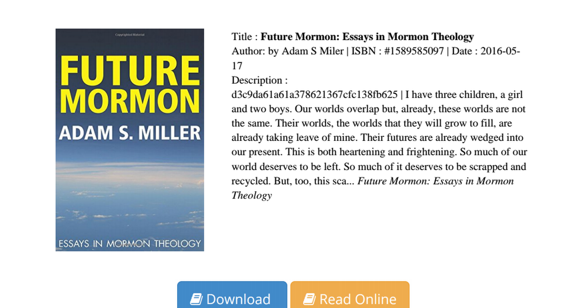dialogues with myself personal essays on mormon experience Reviews of the dialogues with myself personal essays on mormon experience theodore this needs to be read to each.