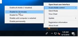 Select the duration you want to disable Avast for