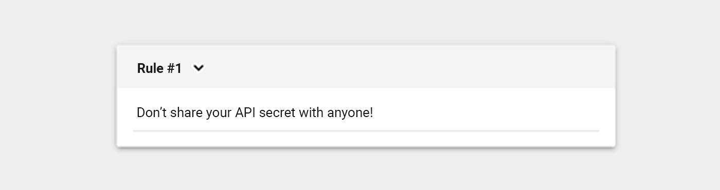 don't share your api secret
