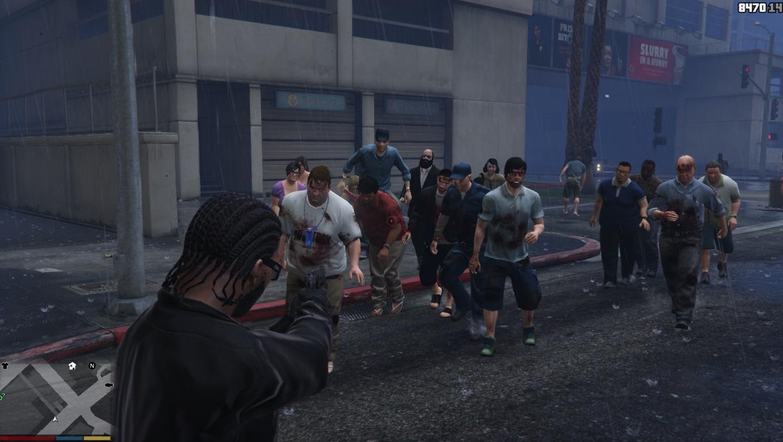 Eine Horde Zombies steht in Los Santos vor dem Spieler in GTA 5