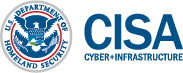 US Dept of Homeland Security Logo and blue letters that read CISA cyber and infrastructure