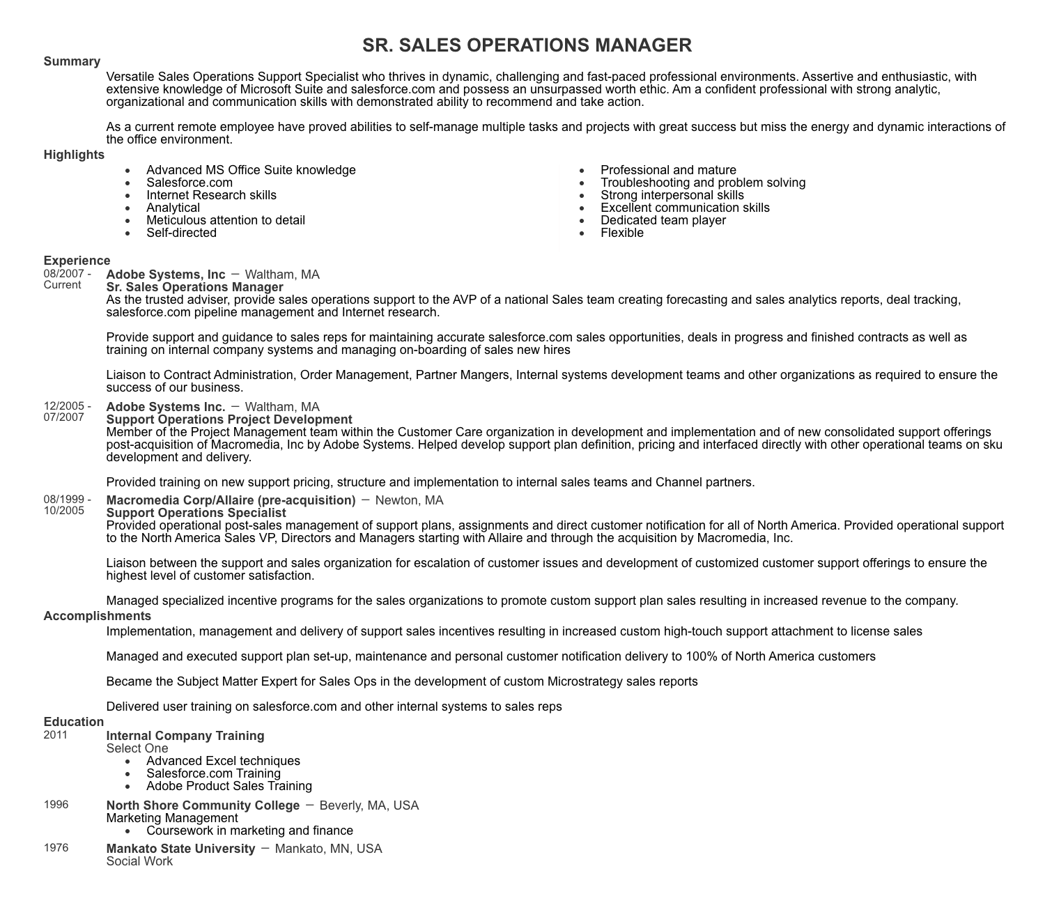 sales operations manager resume example