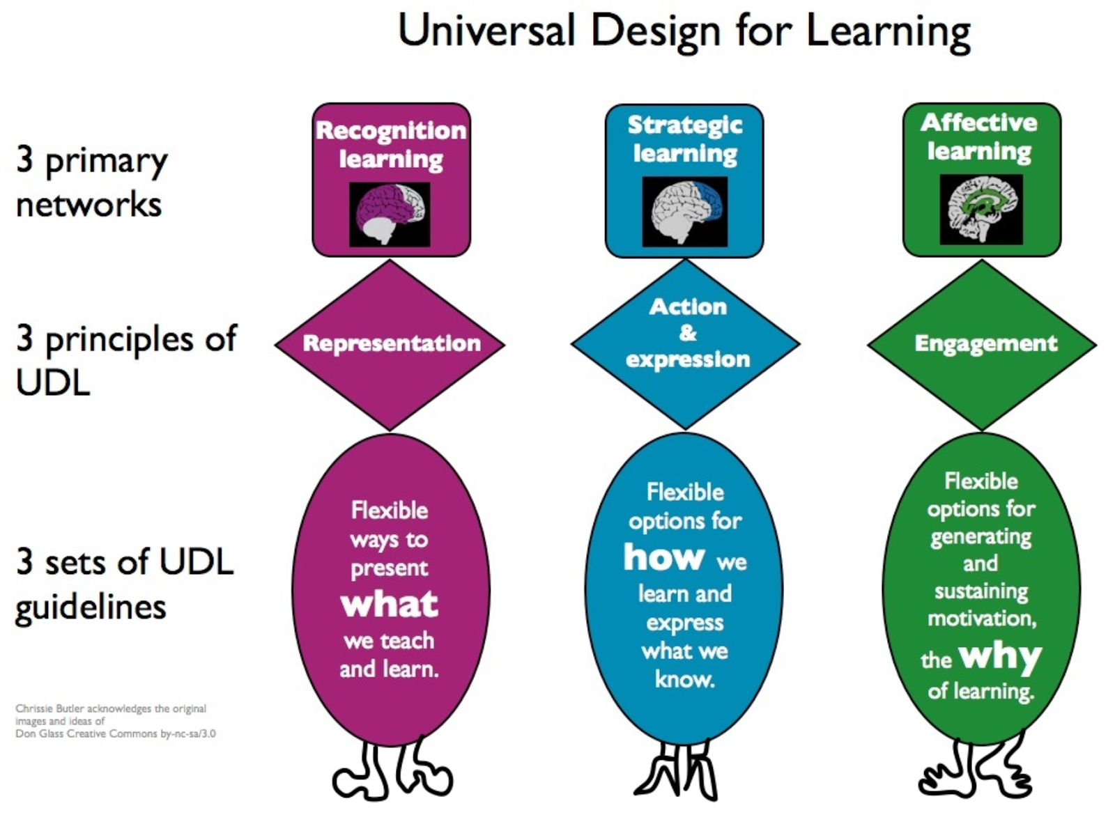 Graphic depiction of UDL networks, principles, and guidelines
