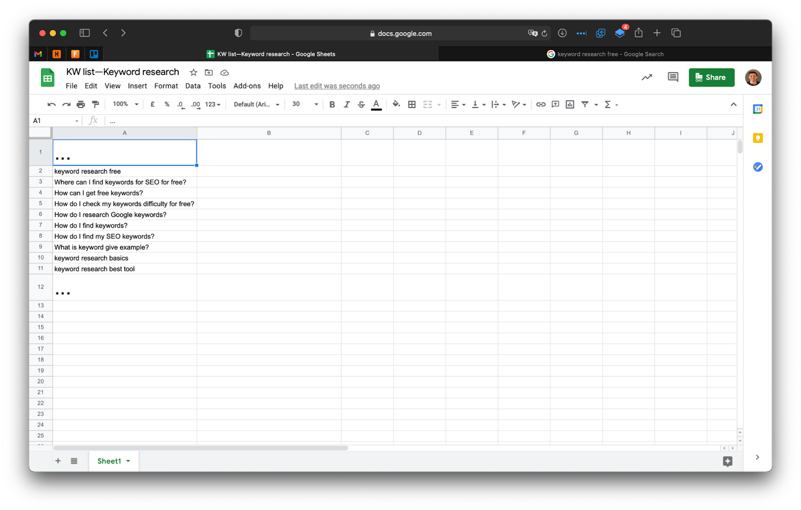A screenshot of my spreadsheet with some example keywords.
