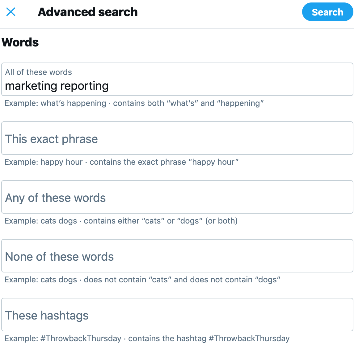 twitter advanced search form