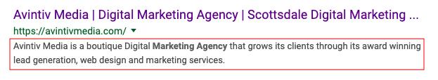 Meta Description, on-page SEO, Scottsdale SEO agency, Avintiv Media