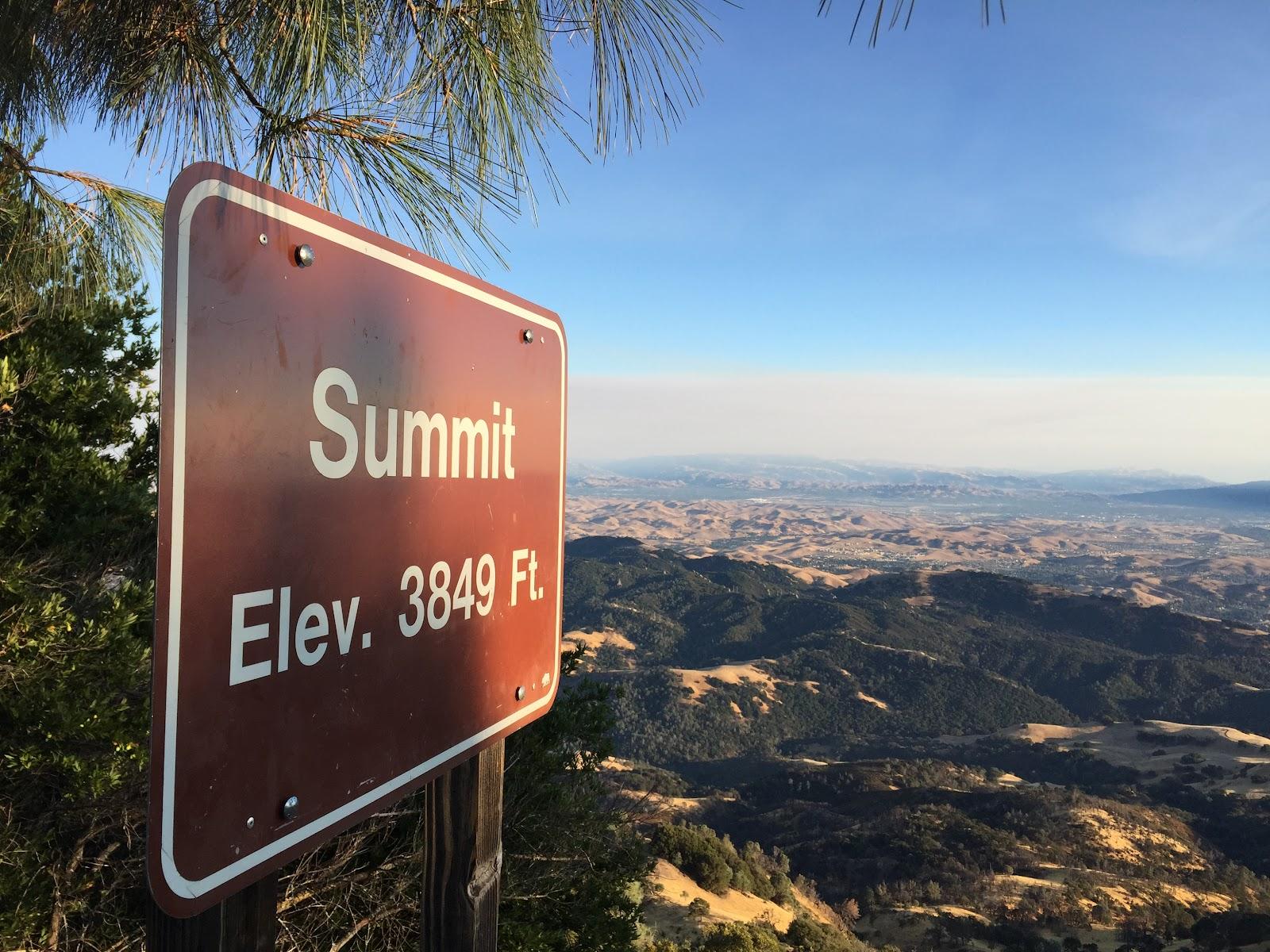 Mt. Diablo  bike climb - summit sign