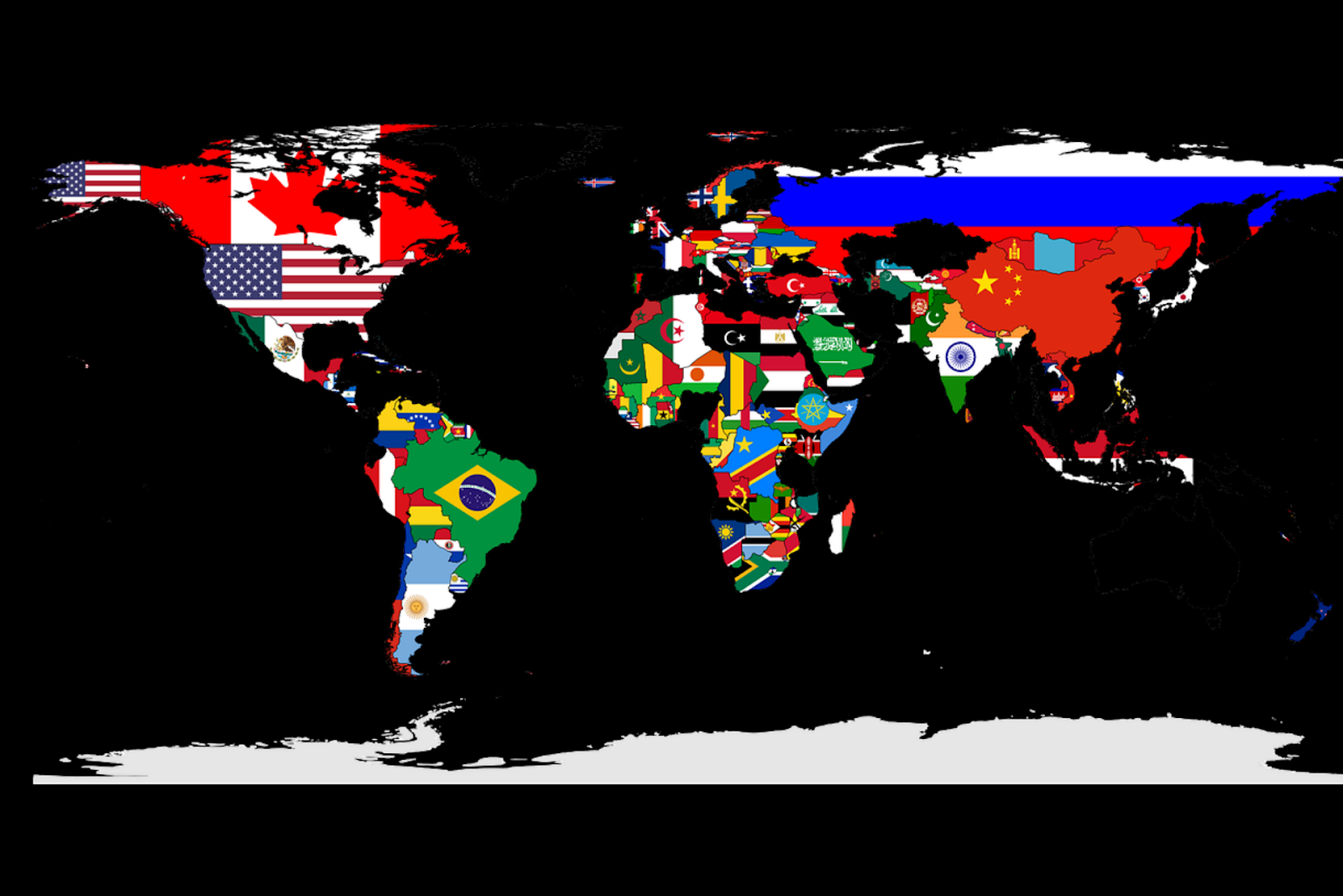 A map of the world with affiliated flag for each country.