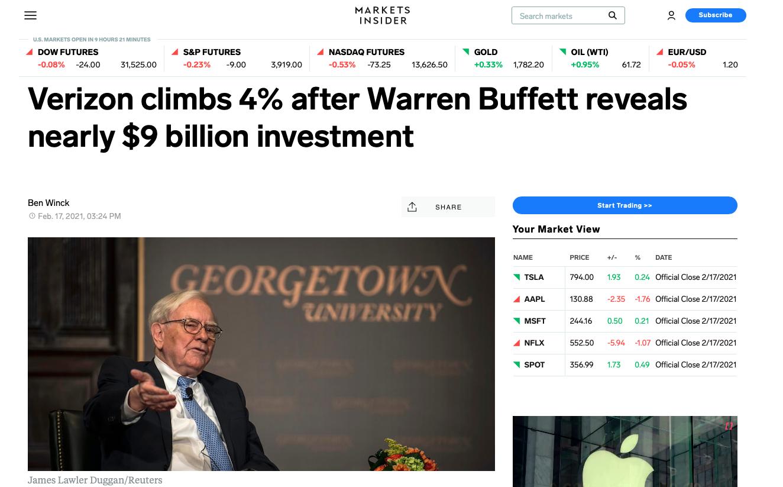 Verizon stock climbs after Warren Buffett reveals nearly $9 billion investment