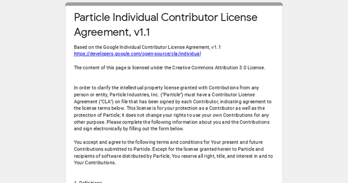 Particle Individual Contributor License Agreement V11