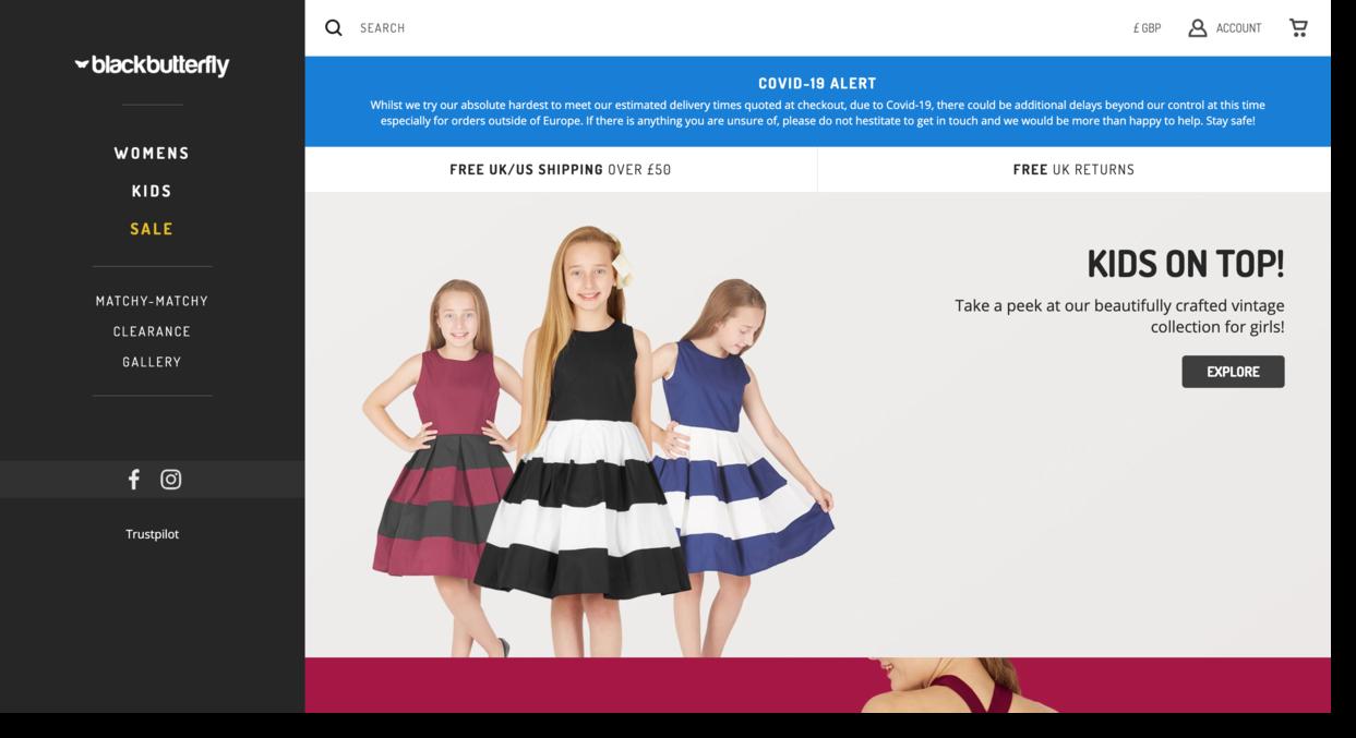 Black Butterfly online fashion retailer website screenshot Ecommerce Website Designs