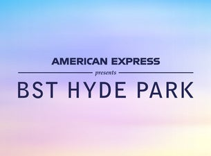 blue text reads american express presents bst hyde park on blue and pink blended background