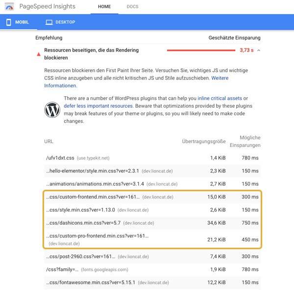 Google Page Speed Insights Beispiel Elementor