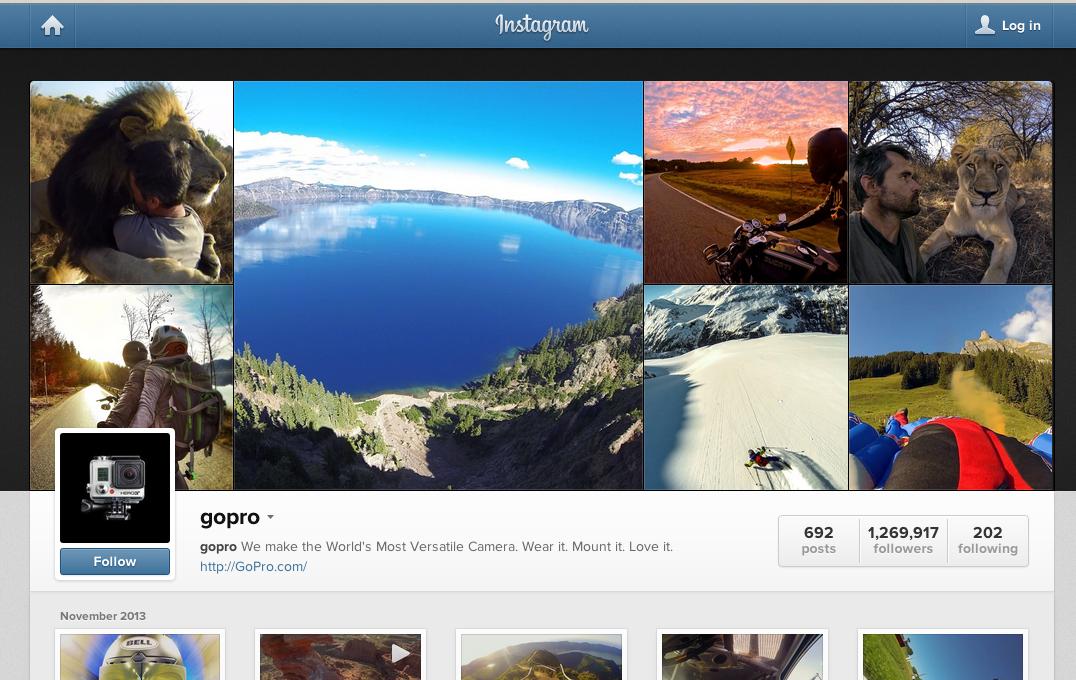 GoPro's Instagram page