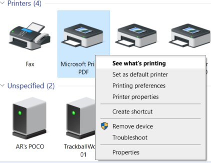 See what's printing option in the Devices and Printers window