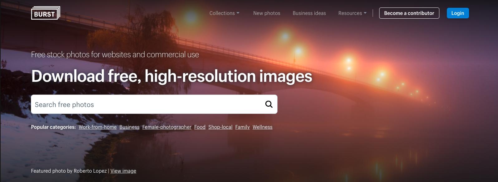 Burst home page screengrab