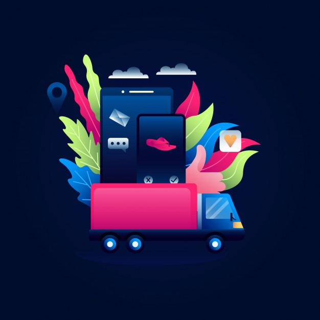 Dropshipping concept illustration of online shopping by car box on mobile Premium Vector