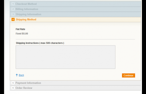 shipping method instruction magento